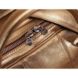 Leather Travel Duffle Bag Floto Venezia gold close