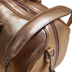 Leather Travel Duffle Bag Floto Venezia Gold strap