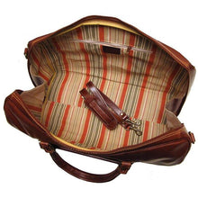 Load image into Gallery viewer, red, white, blue leather duffle bag floto venezia