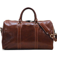 Load image into Gallery viewer, leather duffle bag floto milano monogram