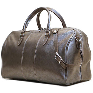 Leather Travel Duffle Bag Floto Venezia silver end