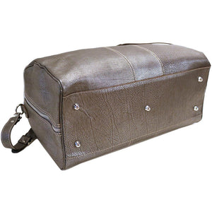 Leather Travel Duffle Bag Floto Venezia silver bottom