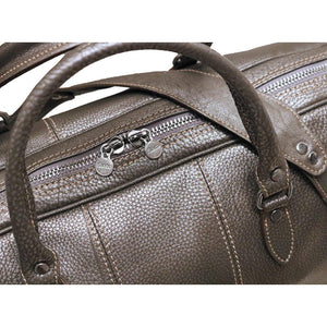 Leather Travel Duffle Bag Floto Venezia silver close