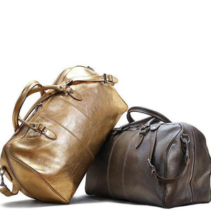Leather Travel Duffle Bag Floto Venezia silver gold