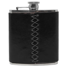 Load image into Gallery viewer, Floto Italian Leather Flask Stainless Steel Black back