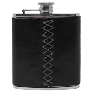 Floto Italian Leather Flask Stainless Steel Black back