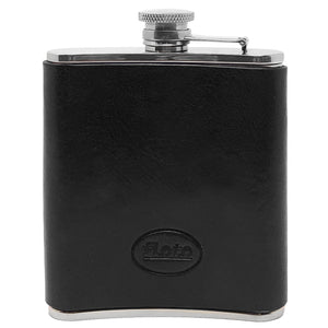 Floto Italian Leather Flask Stainless Steel Black