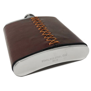 Floto Italian Leather Flask Stainless Steel