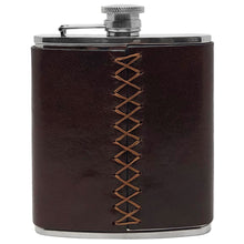 Load image into Gallery viewer, Floto Italian Leather Flask Stainless Steel Brown back