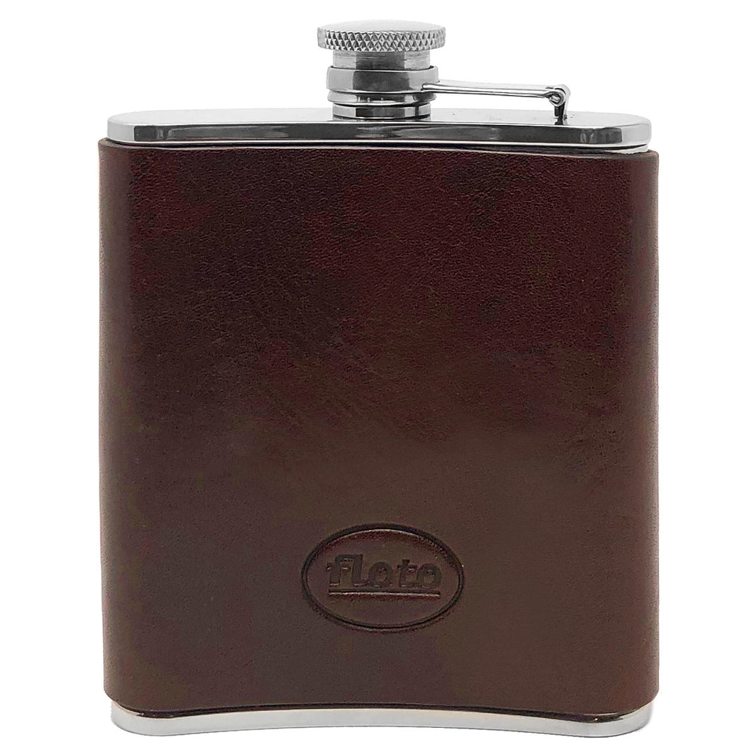 Floto Italian Leather Flask Stainless Steel Brown