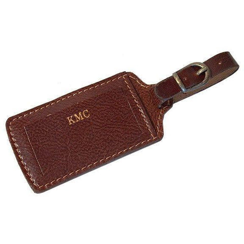 monogram brown floto leather luggage tag