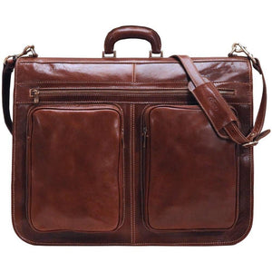 Floto Italian leather garment bag suitcase luggage brown