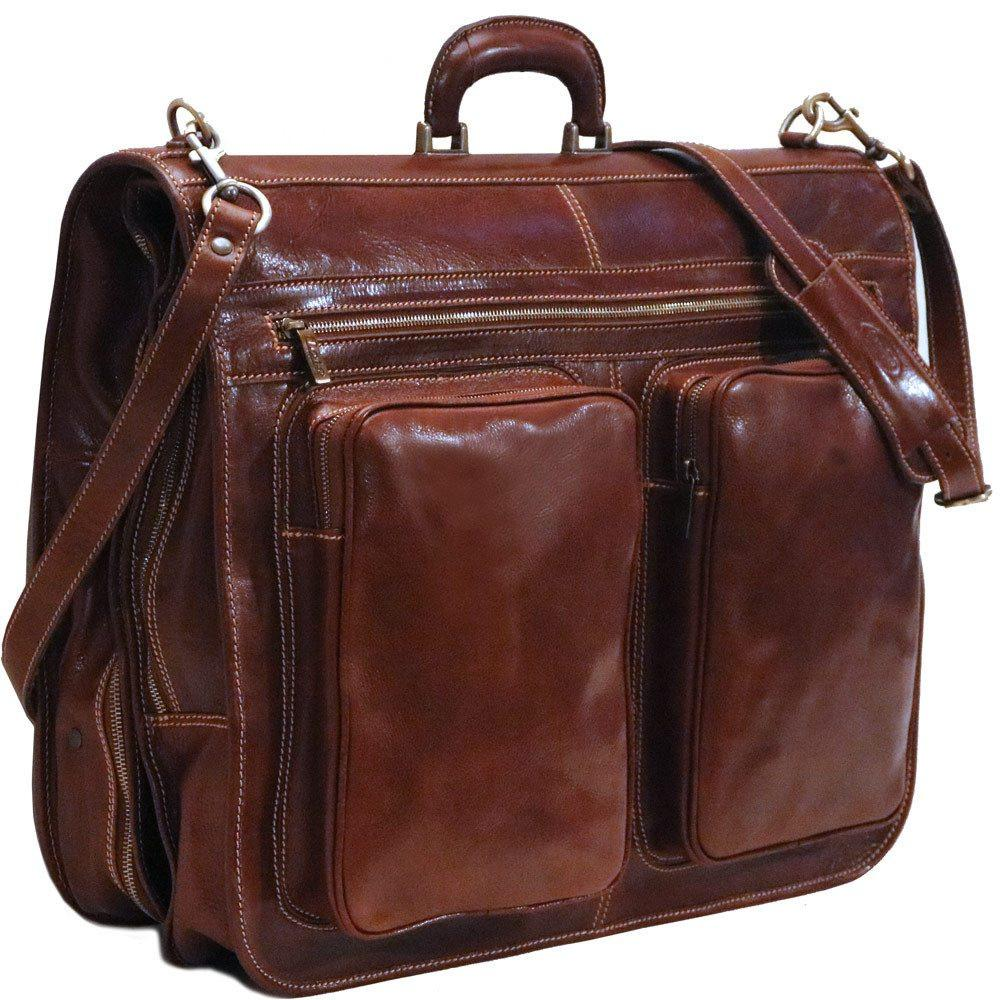 Red leather garment bag