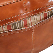 Load image into Gallery viewer, leather garment bag floto venezia olive honey brown pocket