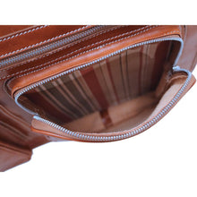 Load image into Gallery viewer, leather garment bag floto venezia olive honey brown cargo pocket
