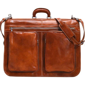 Floto Italian leather garment bag suitcase luggage olive brown