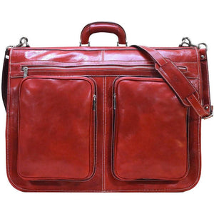 Floto Italian leather garment bag suitcase luggage red