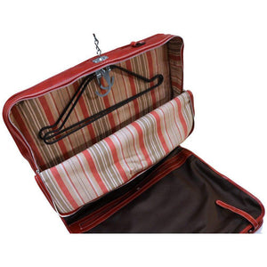 leather garment bag floto venezia red