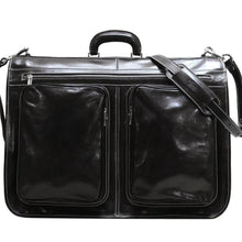 Load image into Gallery viewer, Floto Italian leather garment bag suitcase luggage black