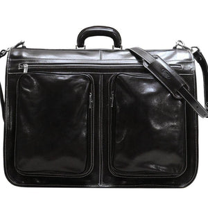 Floto Italian leather garment bag suitcase luggage black