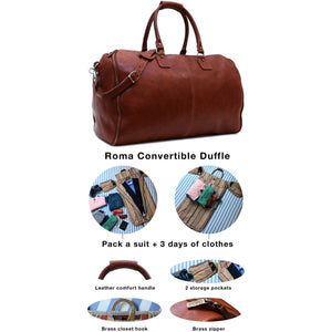 Floto Roma leather garment duffle travel bag