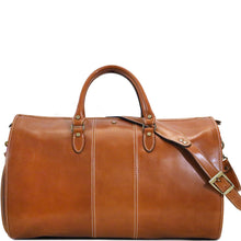 Load image into Gallery viewer, Floto Italian Leather Garment Duffle Travel Bag Venezia in Tempesti front