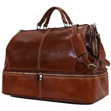 Load image into Gallery viewer, Floto Italian Positano leather gladstone travel duffle bag brown 1