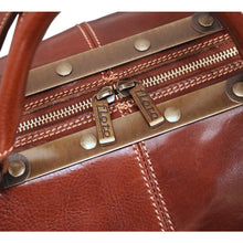 Load image into Gallery viewer, leather gladstone travel duffle bag floto brown