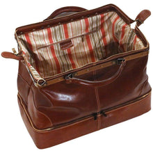 Load image into Gallery viewer, leather gladstone drop bottom duffle bag floto