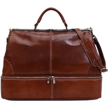 Load image into Gallery viewer, Floto Italian Positano leather gladstone travel duffle bag brown 2