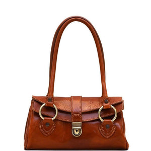 Leather Handbag Floto Corsica vintage classic olive brown
