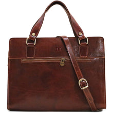Load image into Gallery viewer, Leather Handbag Floto Roma Italian Leather Bag brown monogram