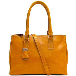 Floto Italian Leather Roma Satchel Shoulder Bag Women's yellow