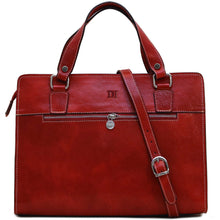 Load image into Gallery viewer, Leather Handbag Floto Roma Italian Leather Bag red monogram