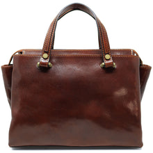 Load image into Gallery viewer, Leather Handbag Floto Sesto Italian Women's Purse Bag brown