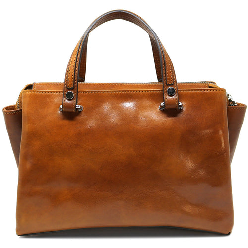 Leather Handbag Floto Sesto Italian Women's Purse Bag olive honey brown