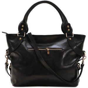 Floto Italian Leather Shoulder Bag Women's Taormina Handbag black
