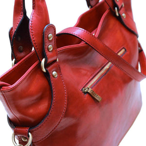 Leather Handbag Floto Taormina red close