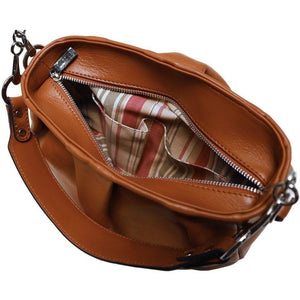 leather hobo satchel shoulder bag floto brown