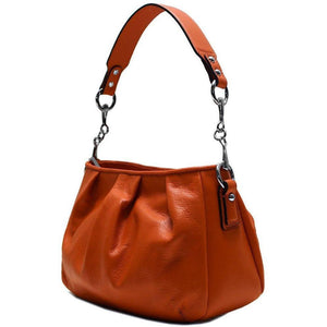 leather hobo satchel shoulder bag floto orange
