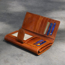 Load image into Gallery viewer, Roma Checkbook Leather Wallet inside