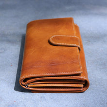 Load image into Gallery viewer, Roma Checkbook Leather Wallet back