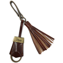 Load image into Gallery viewer, Floto Italian Leather Tassle Keychain brown