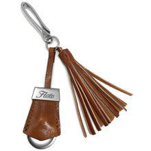 Load image into Gallery viewer, Floto Italian Leather Tassle Keychain olive honey brown