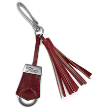 Load image into Gallery viewer, Floto Italian Leather Tassle Keychain red