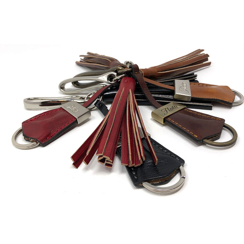 Floto Italian Leather Tassle Keychain brown, black, red