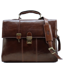 Load image into Gallery viewer, Floto Venezia Leather Laptop Briefcase in Brown