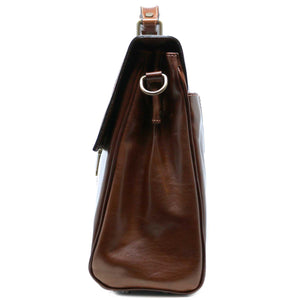 Floto Venezia Leather Laptop Briefcase in Brown 3