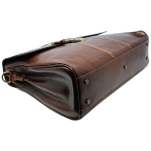 Floto Venezia Leather Laptop Briefcase in Brown 4