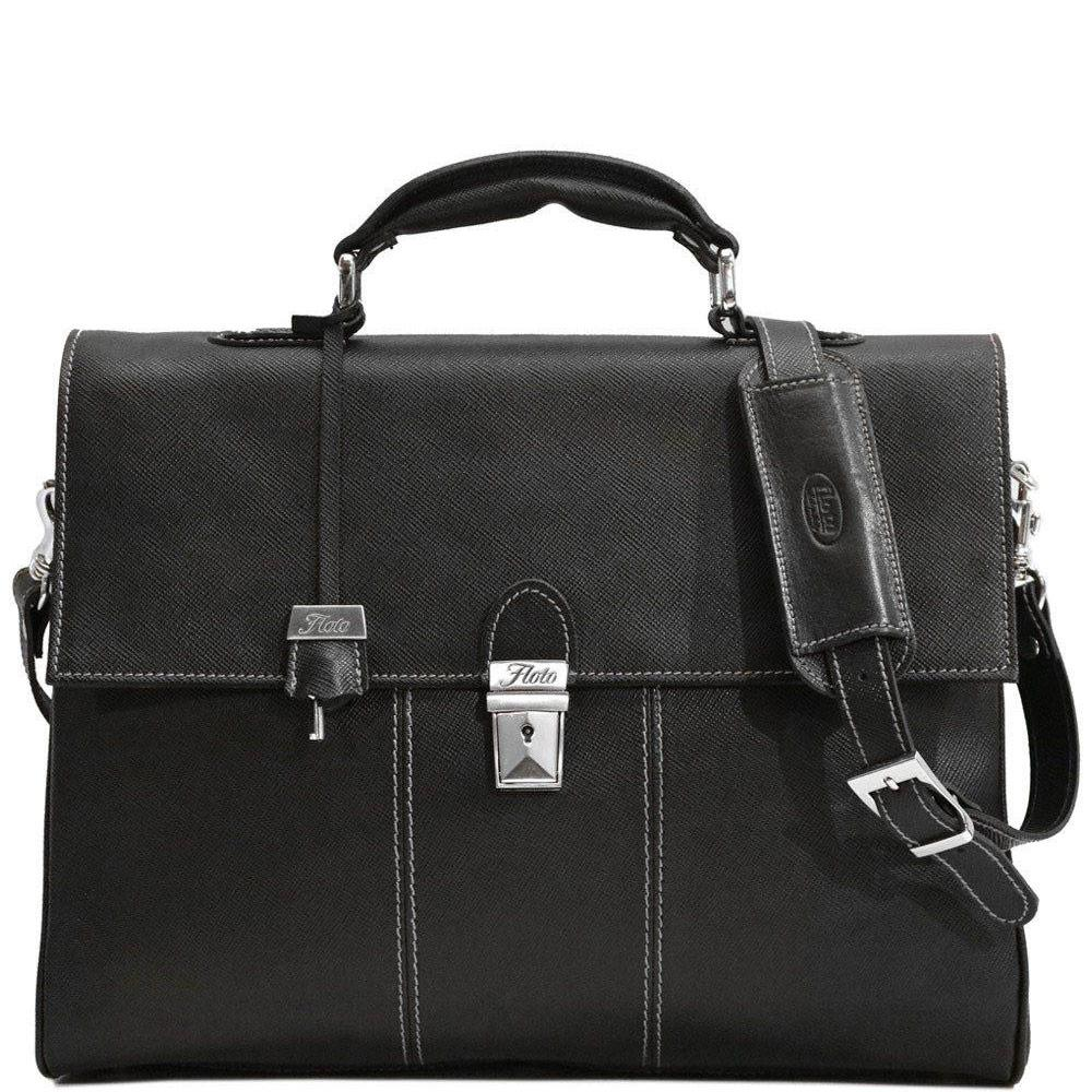 Floto Venezia Saffiano Leather Laptop Briefcase in Black